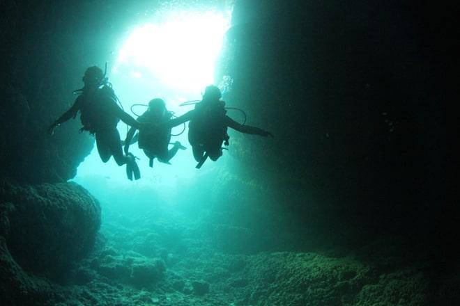 青の洞窟まで海中遊泳